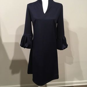 New York and Company Navy blue bell sleeve dress